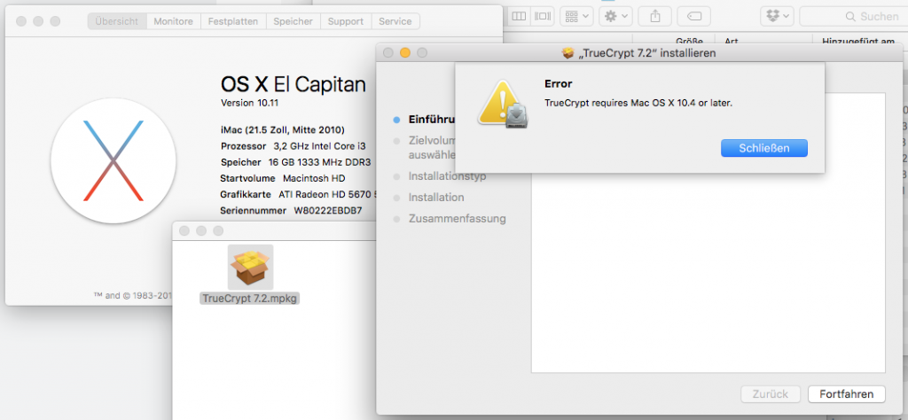 TrueCrypt requires Mac OS X 10.4 or later